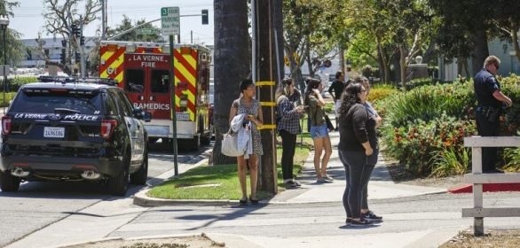 Students in the Oaks dorm were evacuated after a gas leak was detected on the east side of the Oaks A Building Monday afternoon. The smell of the gas wafted down E Street. Housing staff entered each room to evacuate students and open windows to air out the building. Students were not permitted to re-enter their rooms for three hours. / photo by Natasha Brennan
